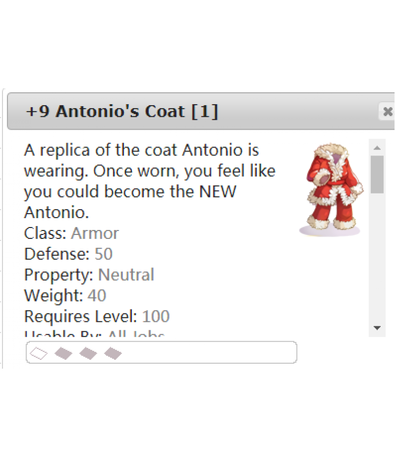 Ragnarok Online  >  Items  >  US - Chaos - Items  >  +9 Antonio's Coat [1]
